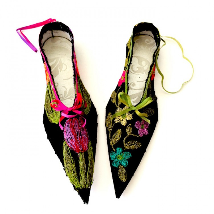 Black machine embroidered miniature silk shoe