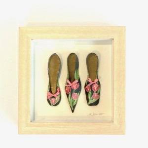 3 collage paper shoes in ash box frame