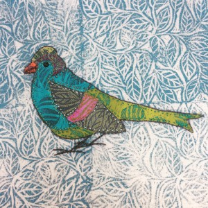 lino cut print and collage chaffinch