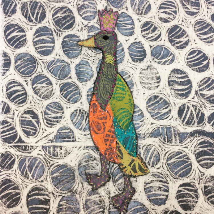 lino cut print and collage indian runner duck
