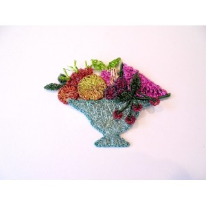 Woven wire bowl of fruit brooch