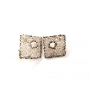 Woven wire large square stud earrings