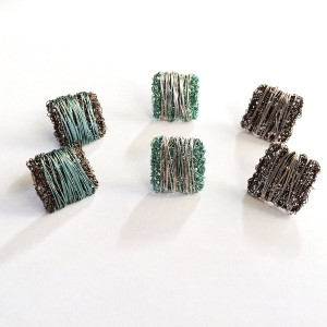 Woven wire square stud earrings wrapped in wire