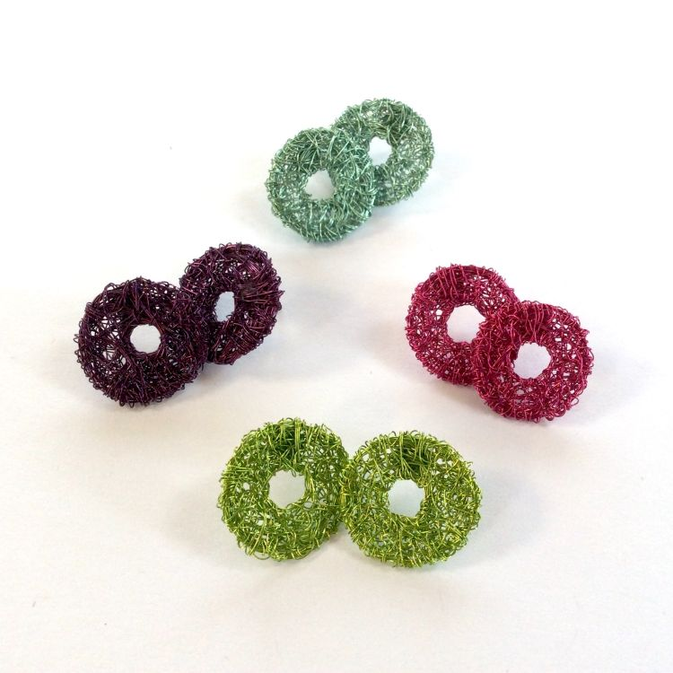 Woven wire donut shaped stud earrings
