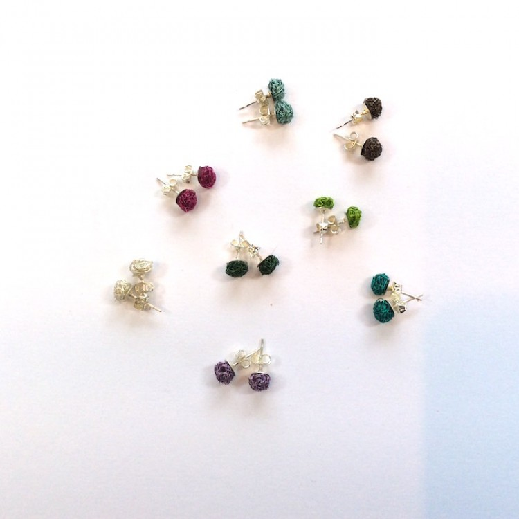 Small round woven wire stud earrings