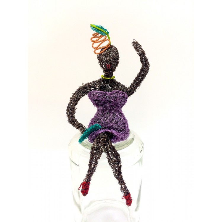 Woven wire lady in lilac dress
