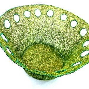 Lime woven wire bowl