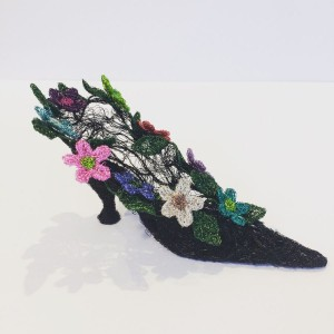 Woven wire floral vintage style shoe